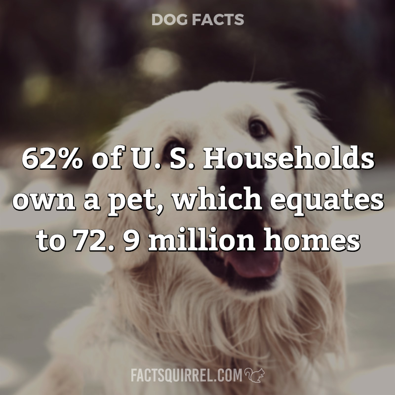 62% of U. S. Households own a pet, which equates to 72. 9 million homes