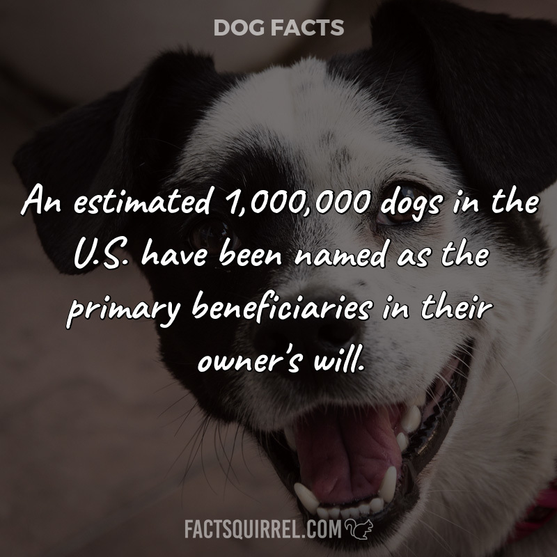 An estimated 1,000,000 dogs in the U.S. have been named as the primary